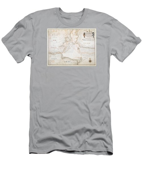 New York Harbor Map 1700 Men's T-Shirt (Athletic Fit)