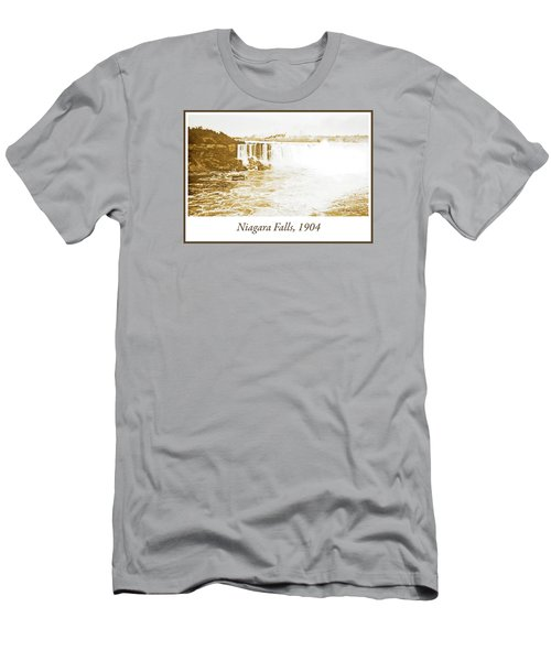 Men's T-Shirt (Slim Fit) featuring the photograph Niagara Falls Ferry Boat 1904 Vintage Photograph by A Gurmankin