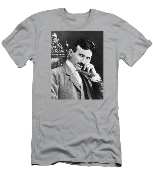 Men's T-Shirt (Athletic Fit) featuring the photograph Nikola Tesla by Artistic Panda