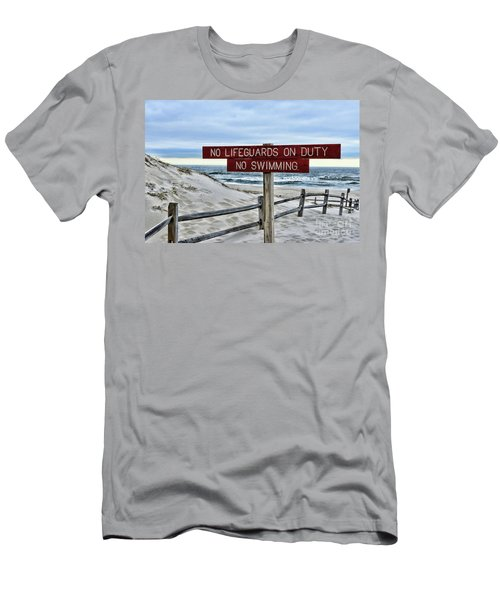 No Lifeguards On Duty Men's T-Shirt (Slim Fit) by Paul Ward