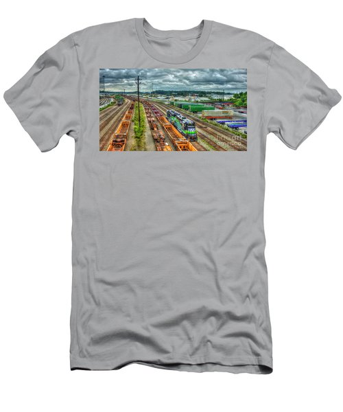 Men's T-Shirt (Athletic Fit) featuring the photograph Norfolk Southern Locomotive 654 Atlanta Inman Yard Intermodal Train Art by Reid Callaway