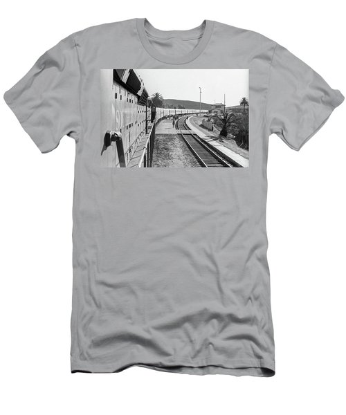 Men's T-Shirt (Athletic Fit) featuring the photograph Northbound Amtrak Coast Starlight, Early Days, San Luis Obispo, California by Frank DiMarco