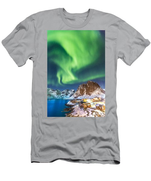 Northern Lights In Hamnoy Men's T-Shirt (Slim Fit) by Alex Conu