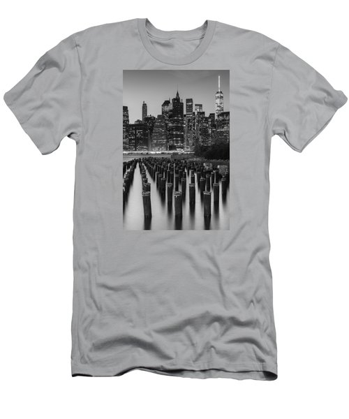 Men's T-Shirt (Slim Fit) featuring the photograph Nyc Skyline Bw by Laura Fasulo