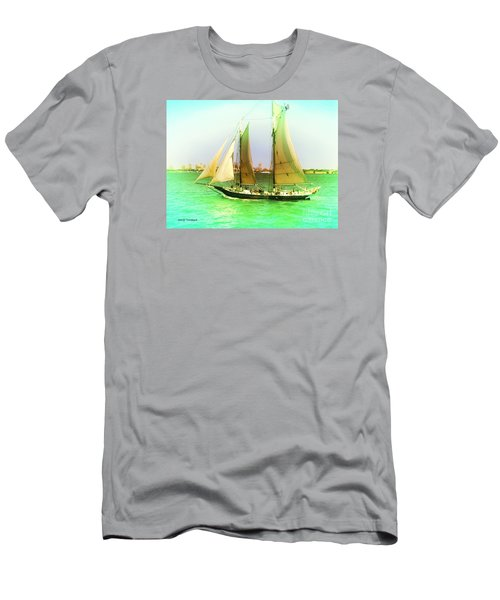 Men's T-Shirt (Slim Fit) featuring the painting Nyc Sailing by Denise Tomasura