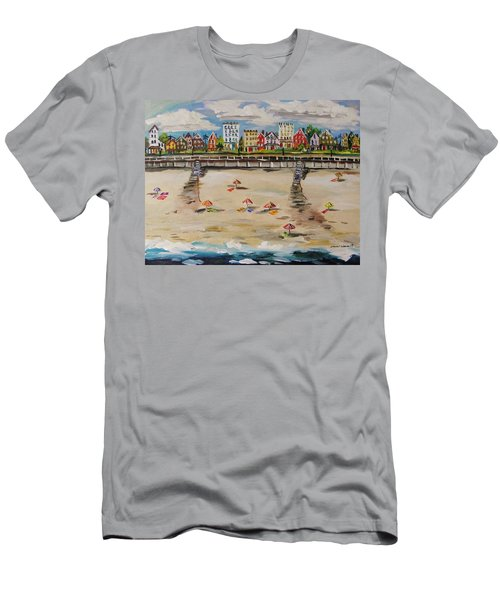 Men's T-Shirt (Slim Fit) featuring the painting Ocean Ave By John Williams by John Williams