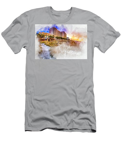 Ocean Drive Sunrise Watercolor Men's T-Shirt (Athletic Fit)