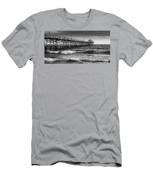 Men's T-Shirt (Athletic Fit) featuring the photograph Oceana Ocean Crest Fishing Pier In Nc Panorama In Bw by Ranjay Mitra