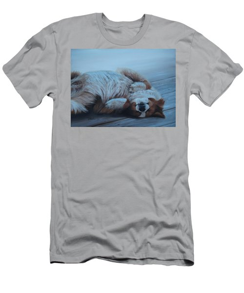 Men's T-Shirt (Athletic Fit) featuring the painting Dog Gone Tired by Tammy Taylor