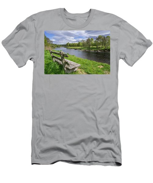 Old Bench Along Spey River, Scotland Men's T-Shirt (Athletic Fit)