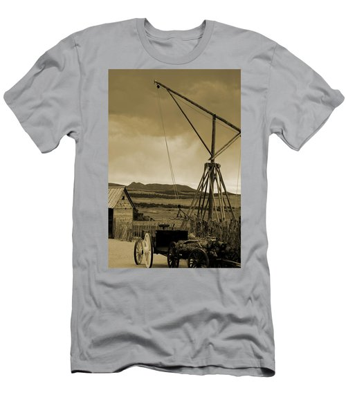 Old Crane And Shed Utah Countryside In Sepia Men's T-Shirt (Athletic Fit)