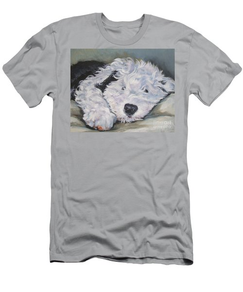 Old English Sheepdog Pup Men's T-Shirt (Slim Fit) by Lee Ann Shepard