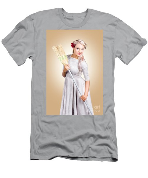 Old Fashion Woman Spring Cleaning With Broom Men's T-Shirt (Athletic Fit)