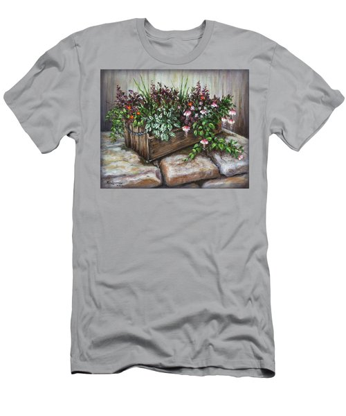 Men's T-Shirt (Slim Fit) featuring the painting Old Flower Box by Kim Lockman