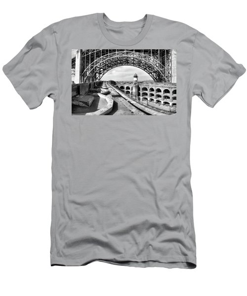 Old Fort Point Lighthouse Under The Golden Gate In Bw Men's T-Shirt (Athletic Fit)