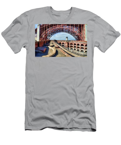 Old Fort Point Lighthouse Under The Golden Gate Men's T-Shirt (Athletic Fit)