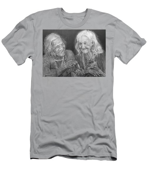 Men's T-Shirt (Slim Fit) featuring the drawing Old Friends, Smokin' And Jokin' by Quwatha Valentine