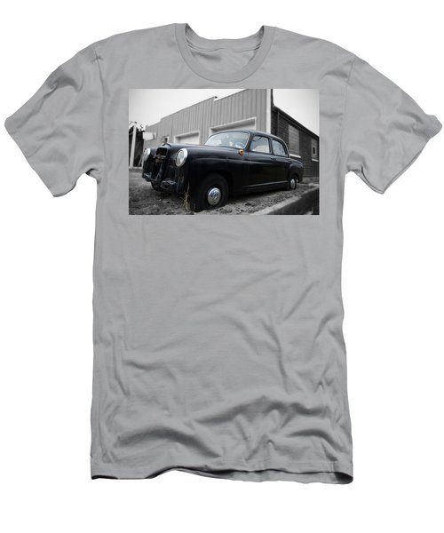 Men's T-Shirt (Slim Fit) featuring the photograph Old Mercedes Sitting At The Shop - Color On Black And White by Janice Adomeit