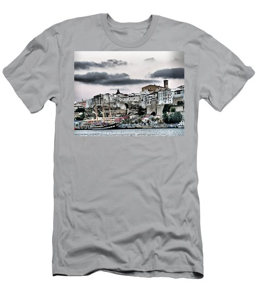 Old Port Mahon And Italian Sail Training Vessel Palinuro Hdr Men's T-Shirt (Slim Fit) by Pedro Cardona