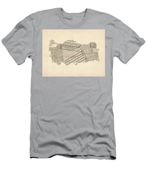 Old Sheet Music Map Of Turkey Map Men's T-Shirt (Athletic Fit)