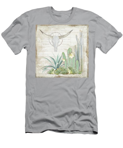 Old West Cactus Garden W Longhorn Cow Skull N Succulents Over Wood Men's T-Shirt (Athletic Fit)