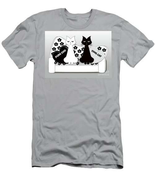 Opposites Attract - Black And White Cats On The Sofa Men's T-Shirt (Athletic Fit)