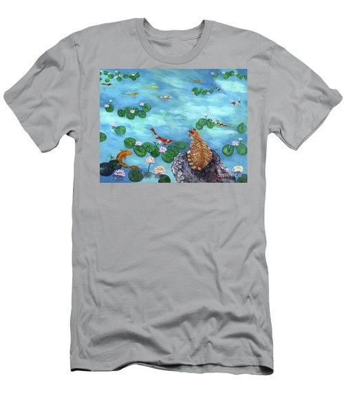 Orange Cat At Koi Pond Men's T-Shirt (Athletic Fit)