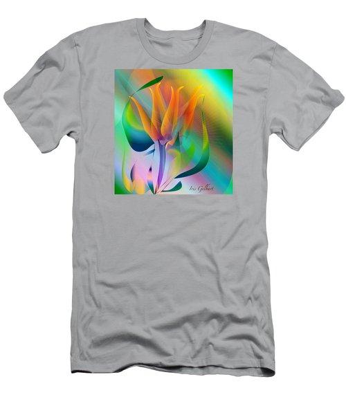 Orange Flower Men's T-Shirt (Slim Fit) by Iris Gelbart