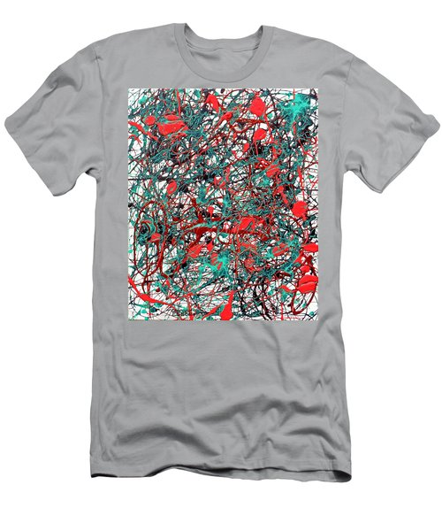 Men's T-Shirt (Slim Fit) featuring the painting Orange Turquoise Drip Abstract by Genevieve Esson