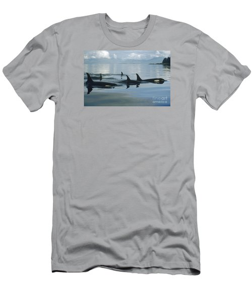 Men's T-Shirt (Athletic Fit) featuring the photograph Orca Pod Johnstone Strait Canada by Flip Nicklin