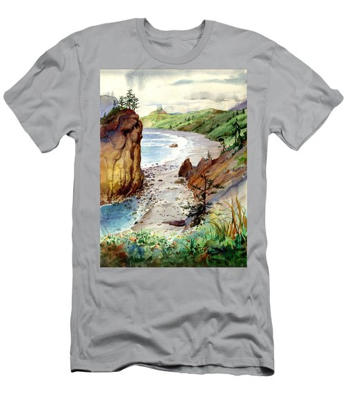 Men's T-Shirt (Slim Fit) featuring the painting Oregon Coast #3 by John Norman Stewart
