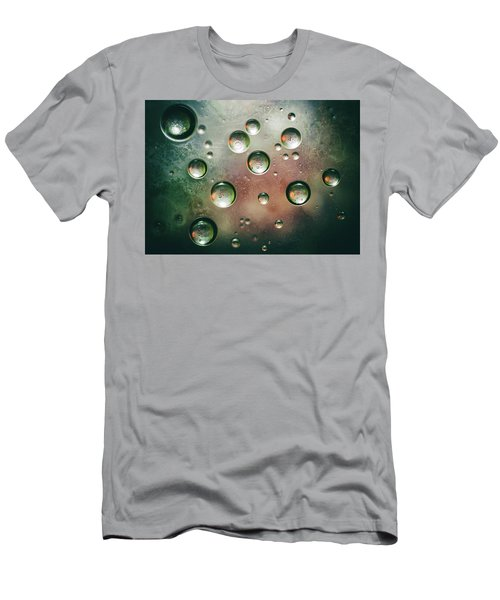 Men's T-Shirt (Athletic Fit) featuring the photograph Organic Silver Oil Bubble Abstract by John Williams