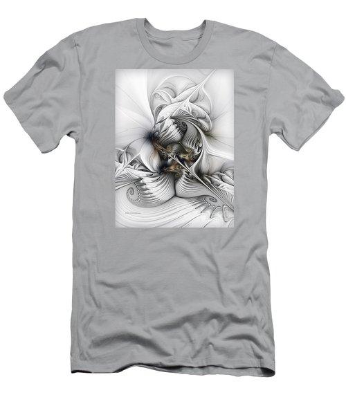 Men's T-Shirt (Slim Fit) featuring the digital art Organic Spiral Tower Construction by Karin Kuhlmann