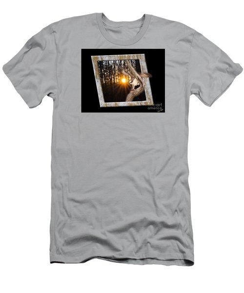 Osprey At Sunset  Black Men's T-Shirt (Slim Fit) by Donna Brown