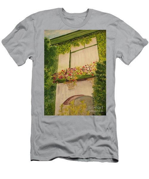 Men's T-Shirt (Slim Fit) featuring the painting Overlooking Butchard Gardens  by Vicki  Housel
