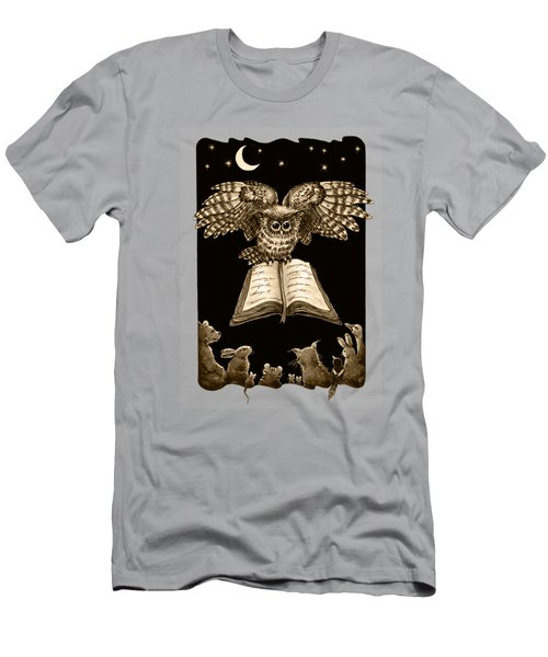Owl And Friends Sepia Men's T-Shirt (Slim Fit) by Retta Stephenson