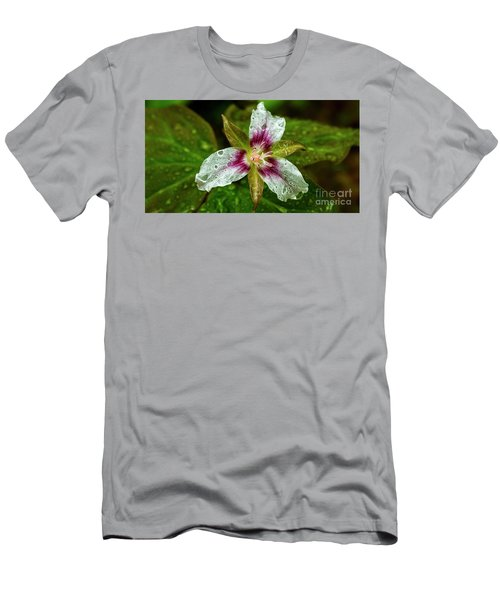 Painted Trillium With Raindrops Men's T-Shirt (Athletic Fit)