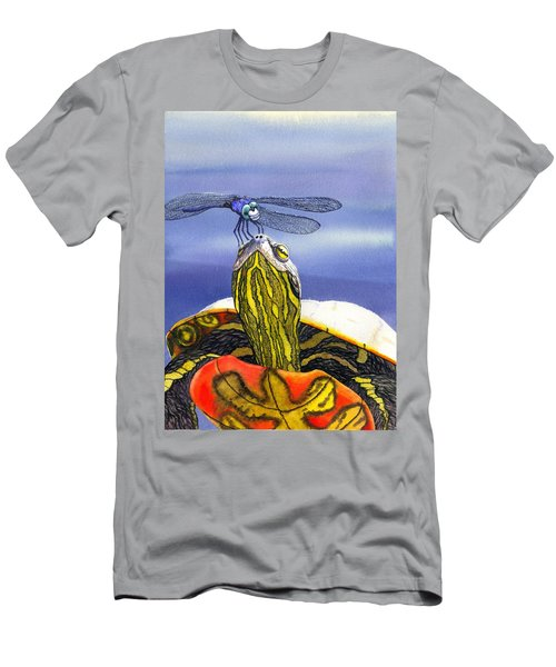 Painted Turtle And Dragonfly Men's T-Shirt (Athletic Fit)