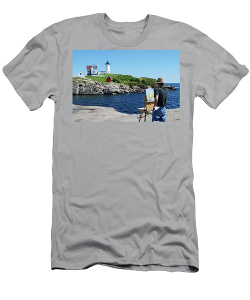 Painting Nubble Lighthouse Men's T-Shirt (Athletic Fit)