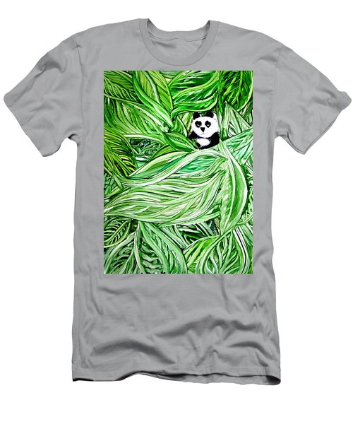 Panda Bear Sitting In Leaves Alcohol Inks Men's T-Shirt (Athletic Fit)