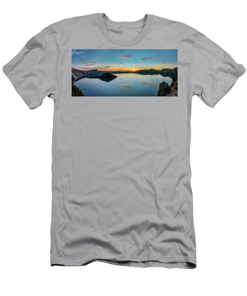 Men's T-Shirt (Athletic Fit) featuring the photograph Panoramic View Of Crater Lake by Pierre Leclerc Photography