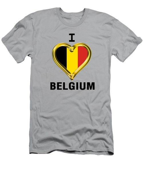 Parchment Background I Heart Belgium Men's T-Shirt (Athletic Fit)
