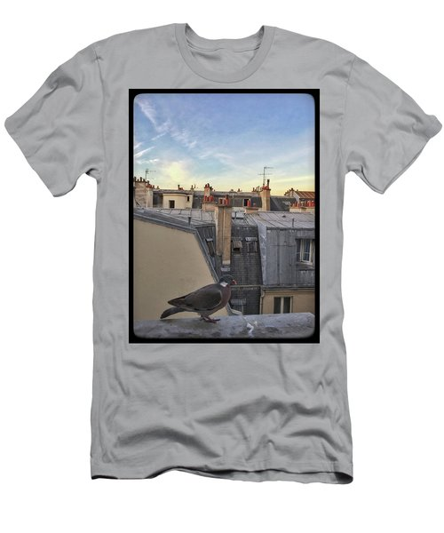 Men's T-Shirt (Athletic Fit) featuring the photograph Paris Rooftop Pigeon by Frank DiMarco