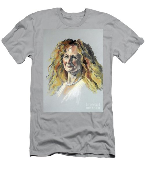Pastel Portrait Of Woman With Frizzy Hair Men's T-Shirt (Athletic Fit)