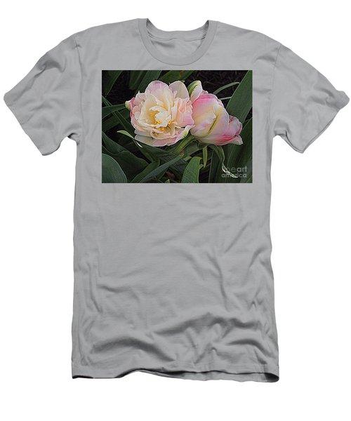 Men's T-Shirt (Slim Fit) featuring the photograph Peony Tulip Duet by Nancy Kane Chapman