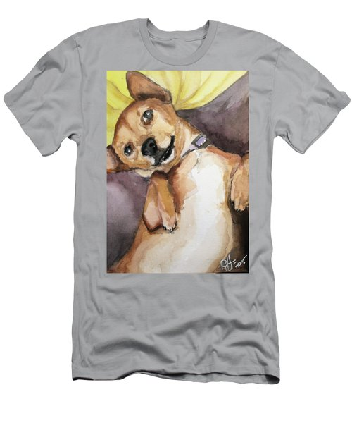 Men's T-Shirt (Slim Fit) featuring the painting Pedro The Chi-weenie by Rachel Hames