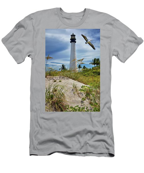 Pelican Flying Over Cape Florida Lighthouse Men's T-Shirt (Athletic Fit)