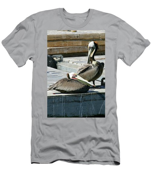Pelican On The Dock Men's T-Shirt (Athletic Fit)