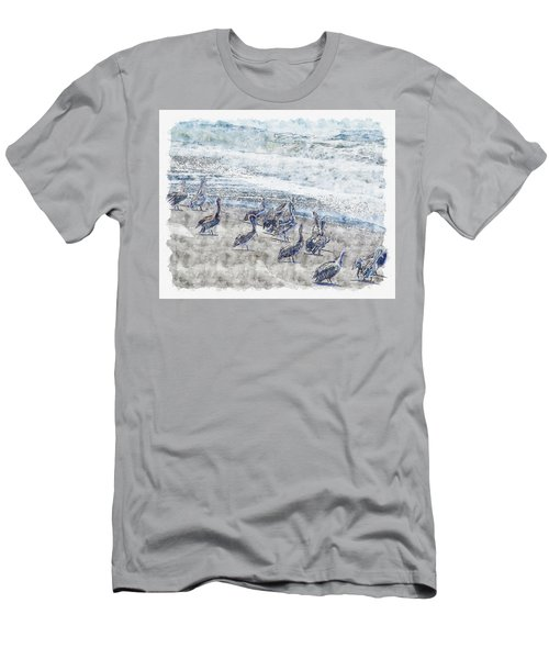 Men's T-Shirt (Athletic Fit) featuring the digital art Pelicans by Anthony Murphy