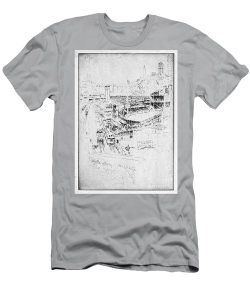 Men's T-Shirt (Slim Fit) featuring the drawing Pennell Polo Grounds 1921 by Granger